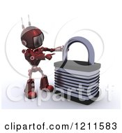 Clipart Of A 3d Red Android Robot With A Locked Padlock Royalty Free CGI Illustration