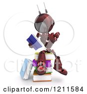 Clipart Of A 3d Red Android Robot Sitting And Reading On A Pile Of Books Royalty Free CGI Illustration