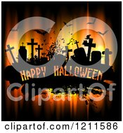 Happy Halloween Greeting On Black Grunge With Bats And Cemetery Tombstones Over Lights
