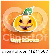 Clipart Of A Happy Halloween Greeting With A Jackolantern On Orange With Flares Royalty Free Vector Illustration