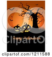 Happy Halloween Greeting With Jackolanterns Under A Bare Tree Full Moon And Bats Over Black