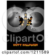 Happy Halloween Greeting With Bats And A Lit Haunted Mansion On Gray