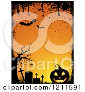Clipart Of A Grungy Halloween Background With Bats Pumpkins And Tombstones Around Orange Copyspace Royalty Free Vector Illustration