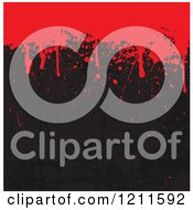Clipart Of Red Blood Dripping Down On Scratched Black With Copyspace Royalty Free Vector Illustration