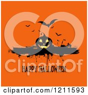 Clipart Of A Happy Halloween Greeting With A Jackolantern And Bats With Grunge On Orange Royalty Free Vector Illustration