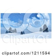 Clipart Of 3d Hill Tops With Evergreen Trees In The Snow Royalty Free CGI Illustration