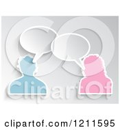 Clipart Of A Pink And Blue Male And Female Avatars Talking On Gray Royalty Free Vector Illustration by KJ Pargeter