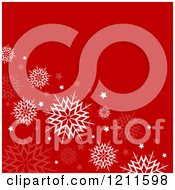Clipart Of A Red Christmas Background With White And Faint Snowflakes Royalty Free Vector Illustration