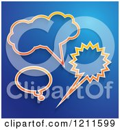 Clipart Of Orange Speech And Thought Bubbles On Blue Royalty Free Vector Illustration by KJ Pargeter