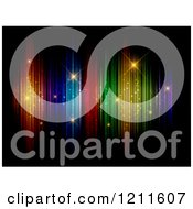 Clipart Of A Colorful Lights With Sparkles On Black Royalty Free Vector Illustration