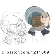 Cartoon Of An Outlined And Colored House Robber Smoking A Cigarette And Carrying A Sack Over His Shoulder While Looking Back Royalty Free Vector Clipart by Alex Bannykh