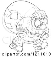 Cartoon Of An Outlined House Robber Smoking A Cigarette And Carrying A Sack Over His Shoulder While Looking Back Royalty Free Vector Clipart by Alex Bannykh