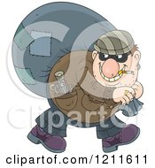 Cartoon Of A House Robber Smoking A Cigarette And Carrying A Sack Over His Shoulder While Looking Back Royalty Free Vector Clipart