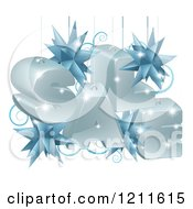 Clipart Of A 3d Suspended Christmas Sale With Star Baubles Royalty Free Vector Illustration