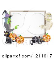Happy Mummy Witch Pumpkins And Black Cats Around A Blank Sign