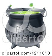 Cartoon Of A Bubbly Witch Cauldron With Happy Halloween Text Royalty Free Vector Clipart by AtStockIllustration