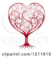 Clipart Of A Red Heart Tree With Swirls Royalty Free Vector Illustration by AtStockIllustration