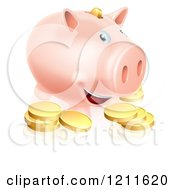 Happy Smiling Piggy Bank With Golden Coins