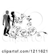 Clipart Of A Black And White Silhouetted Wedding Couple With Ornate Swirls 2 Royalty Free Vector Illustration