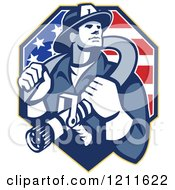 Retro Fire Fighter Man Holding A Hose On His Shoulders Over An American Flag