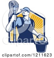 Clipart Of A Retro Male Janitor Holding A Mop And Bucket Over Sunshine Royalty Free Vector Illustration by patrimonio