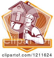 Clipart Of A Retro Carpenter Man Carrying A House On His Shoulder Over A Shield And Text Bar Royalty Free Vector Illustration