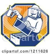 Clipart Of A Retro Bee Keeper Holding A Smoker Over An Octagon Of Rays Royalty Free Vector Illustration by patrimonio