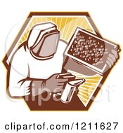 Clipart Of A Retro Bee Keeper Holding A Smoker And Frame Over An Octagon Of Rays Royalty Free Vector Illustration by patrimonio