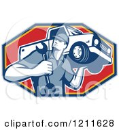 Clipart Of A Retro Car Mechanic Holding A Truck On His Shoulder Over A Red Octagon Royalty Free Vector Illustration