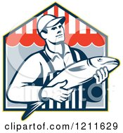Clipart Of A Retro Fish Monger Over A Shop Royalty Free Vector Illustration by patrimonio