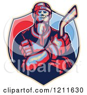 Clipart Of A Retro Hockey Player Holding A Stick And Crossing His Arms Over A Shield Royalty Free Vector Illustration