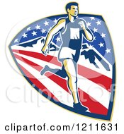 Clipart Of A Retro Marathon Runner Over A Mountain American Stars And Stripes Shield Royalty Free Vector Illustration by patrimonio