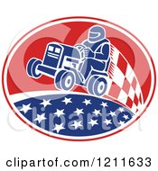 Clipart Of A Retro Man Racing A Tractor In An Oval Of Stars And Checkers Royalty Free Vector Illustration