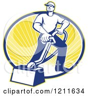 Clipart Of A Retro Carpet Cleaner Man With A Vacuum Over An Oval Of Sunshine Royalty Free Vector Illustration