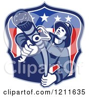 Clipart Of A Retro Fire Fighter Man Holding A Hose Over An American Flag Shield Royalty Free Vector Illustration