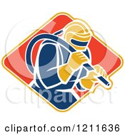 Clipart Of A Retro Sandblaster In A Helmet Holding A Hose Over A Diamond Royalty Free Vector Illustration