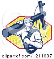 Clipart Of A Retro Lineman Worker Carrying A Pole And Cable Over Rays Royalty Free Vector Illustration