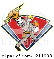 Retro Electrician Or Lineman Holding A Bolt Over Red And Blue Triangles