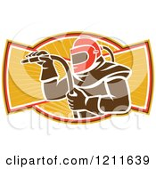 Clipart Of A Retro Sandblaster In A Helmet Holding A Hose Over Rays Royalty Free Vector Illustration