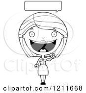 Cartoon Of A Black And White Happy Business Woman Talking Royalty Free Vector Clipart