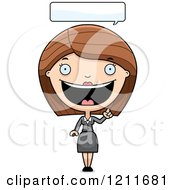 Cartoon Of A Happy Business Woman Talking Royalty Free Vector Clipart by Cory Thoman