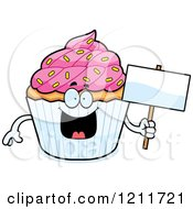 Cartoon Of A Sprinkled Cupcake Mascot Holding A Sign Royalty Free Vector Clipart