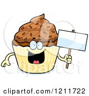 Chocolate Sprinkled Cupcake Mascot Holding A Sign