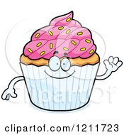 Cartoon Of A Waving Sprinkled Cupcake Mascot Royalty Free Vector Clipart