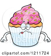 Cartoon Of A Sick Sprinkled Cupcake Mascot Royalty Free Vector Clipart by Cory Thoman
