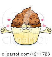 Cartoon Of A Loving Chocolate Sprinkled Cupcake Mascot Wanting A Hug Royalty Free Vector Clipart by Cory Thoman