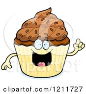 Cartoon Of A Smart Chocolate Sprinkled Cupcake Mascot With An Idea Royalty Free Vector Clipart by Cory Thoman
