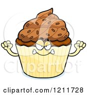 Cartoon Of A Mad Chocolate Sprinkled Cupcake Mascot Royalty Free Vector Clipart by Cory Thoman