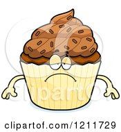 Cartoon Of A Depressed Chocolate Sprinkled Cupcake Mascot Royalty Free Vector Clipart by Cory Thoman