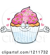 Cartoon Of A Loving Sprinkled Cupcake Mascot Wanting A Hug Royalty Free Vector Clipart by Cory Thoman
